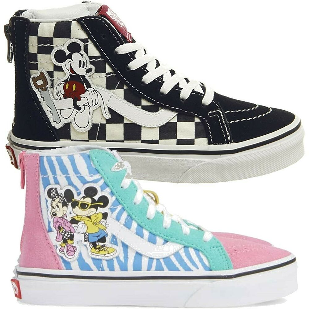 f0ee72585a Details about Vans Kids Youth x Disney Mickey Mouse 90th Anniversary Sk8-Hi  Zip Shoes
