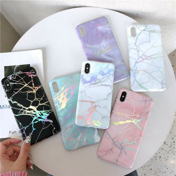 Shiny Laser Marble Iridescent Holographic Soft Rubber Glossy Phone Case Cover