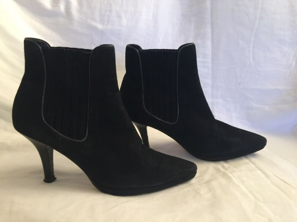 2b86f8bbb73 Details about Cole Haan NikeAir Womens Black Leather Heel Slip On Ankle  Boots Booties Size 7