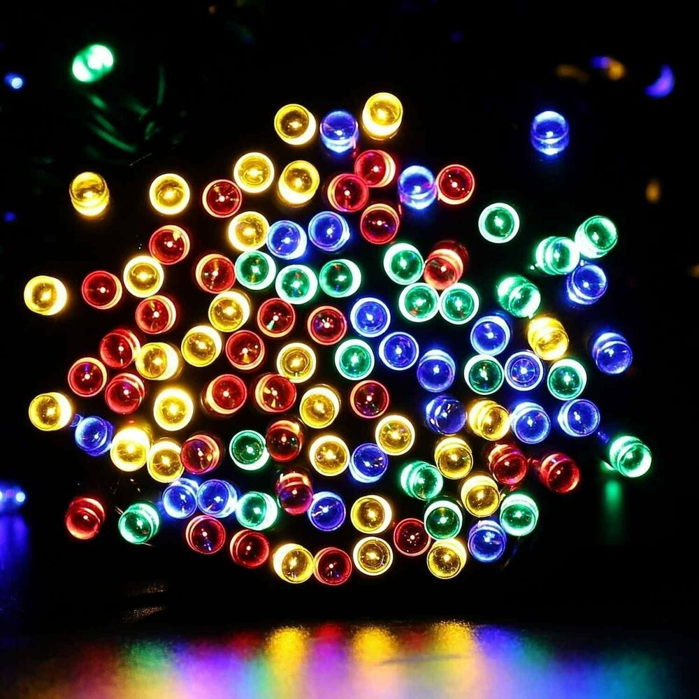 Details About 72ft Outdoor Indoor 200 Led Blue Solar String Christmas Fairy Tree Lights Decor