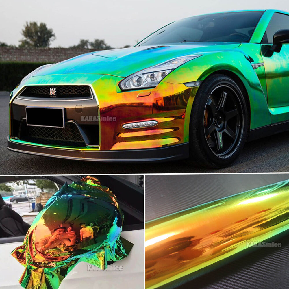 Details about black hot glossy rainbow magic mirror chameleon chrome car vinyl wrap sticker ab