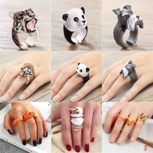 Trendy Animal Shape Adjustable Finger Open Ring Band Jewelry Gift Cute Rings