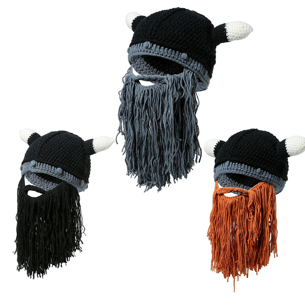 Details about Mens Knitted Viking Barbarian Beard Horn Cable Crochet Beanie  Hat Winter Ski Cap aebe0ca9535