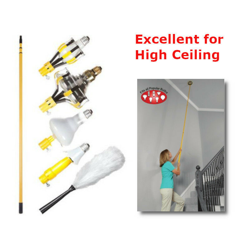 Light Bulb Changing Kit 11-Ft Pole High Ceiling Changer ...