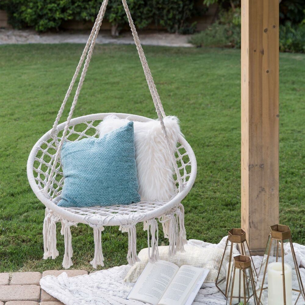 Details About Round Hanging Cotton Hammock Swing Chair Net W/ Rope Fringe  Tassels Handmade New