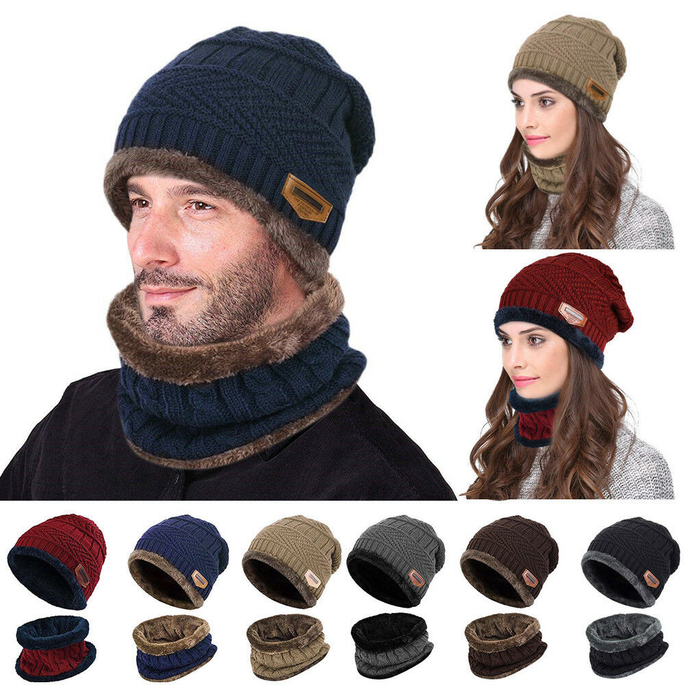 f350c376f90 Fashion Women Men Knit Ski Beanie Hat Scarf Neck Warmer Fleece Lined Skull  Cap. TOP-QUALITY ...