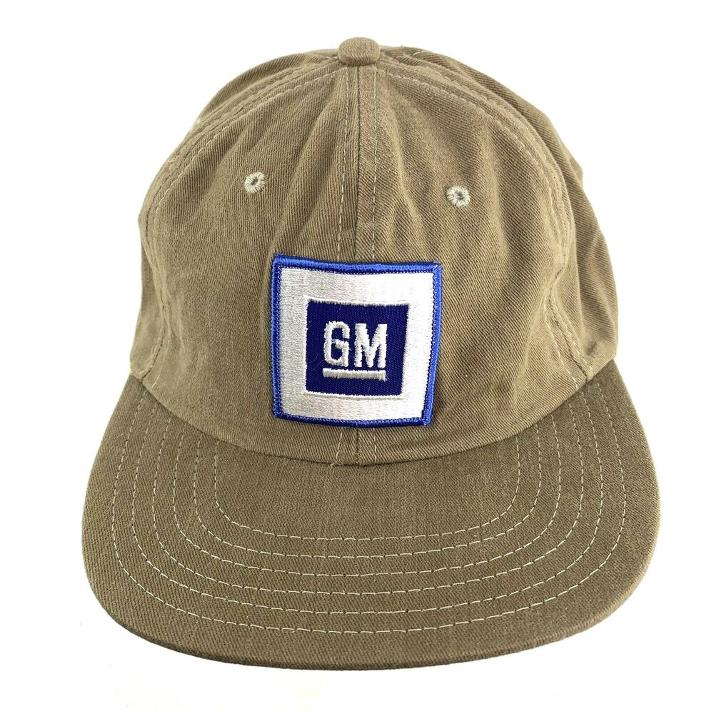 4b027ff8d65 Details about Vintage GM Mens Strap Back Dad Hat Beige General Motors Patch  GMC h33