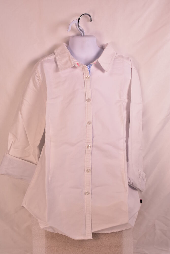 7a1610868 Details about Girl's Tommy Hilfiger Solid Oxford Shirt White