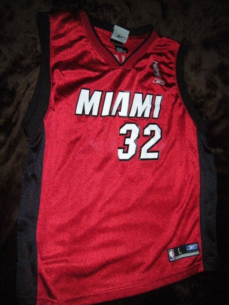 49aec3776 Details about Shaquille O Neal  32 Miami Heat Red Basketball Jersey Youth  Large L 14-16 SHAQ