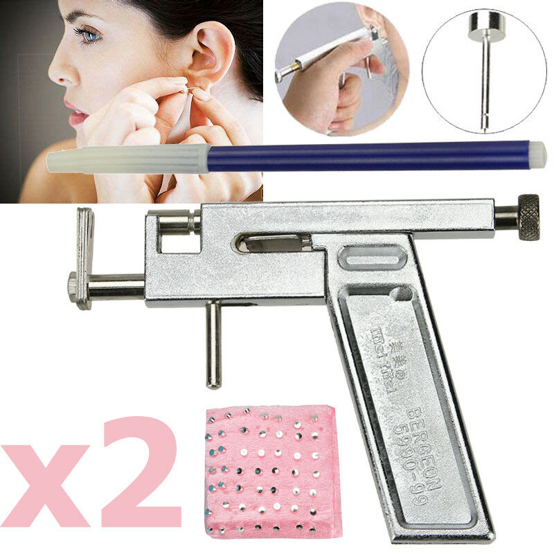 2x Pro Steel Ear Nose Navel Body Piercing Gun Kit Tool Set With Pack