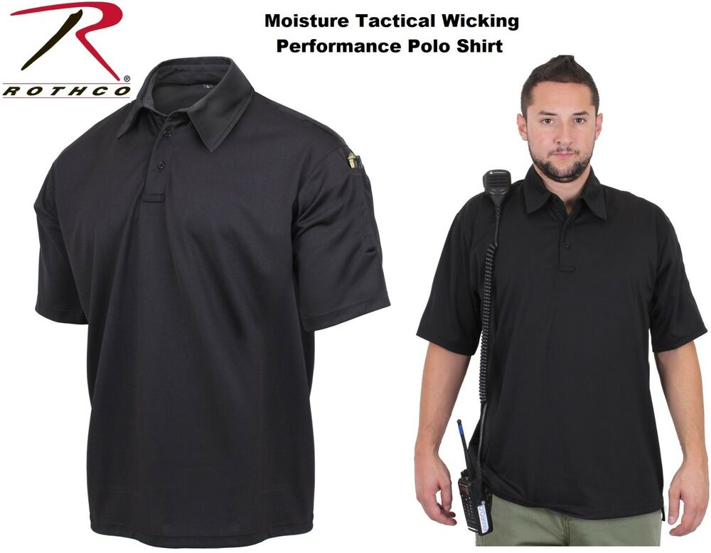 31350e83 Details about Black Tactical Polo Shirt Performance Moisture Wicking  Material Rothco 3912
