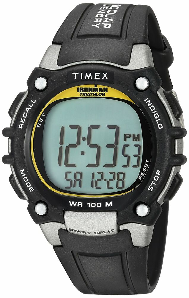 1d256230bbd8 Details about Timex Full-Size Ironman Classic 100 Watch  Black Silver-Tone Yellow