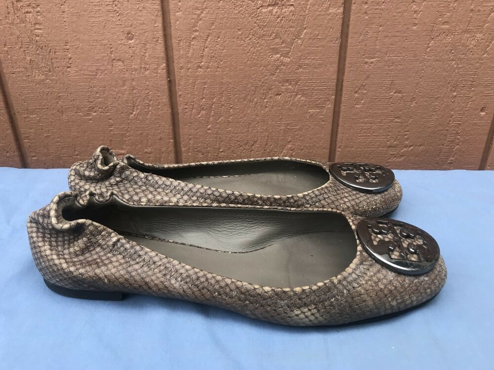 e64cf9f2c497 Details about Tory Burch Reva US 7.5M Flat Beige Brown Snakeskin Embossed  Ballet Shoe A4