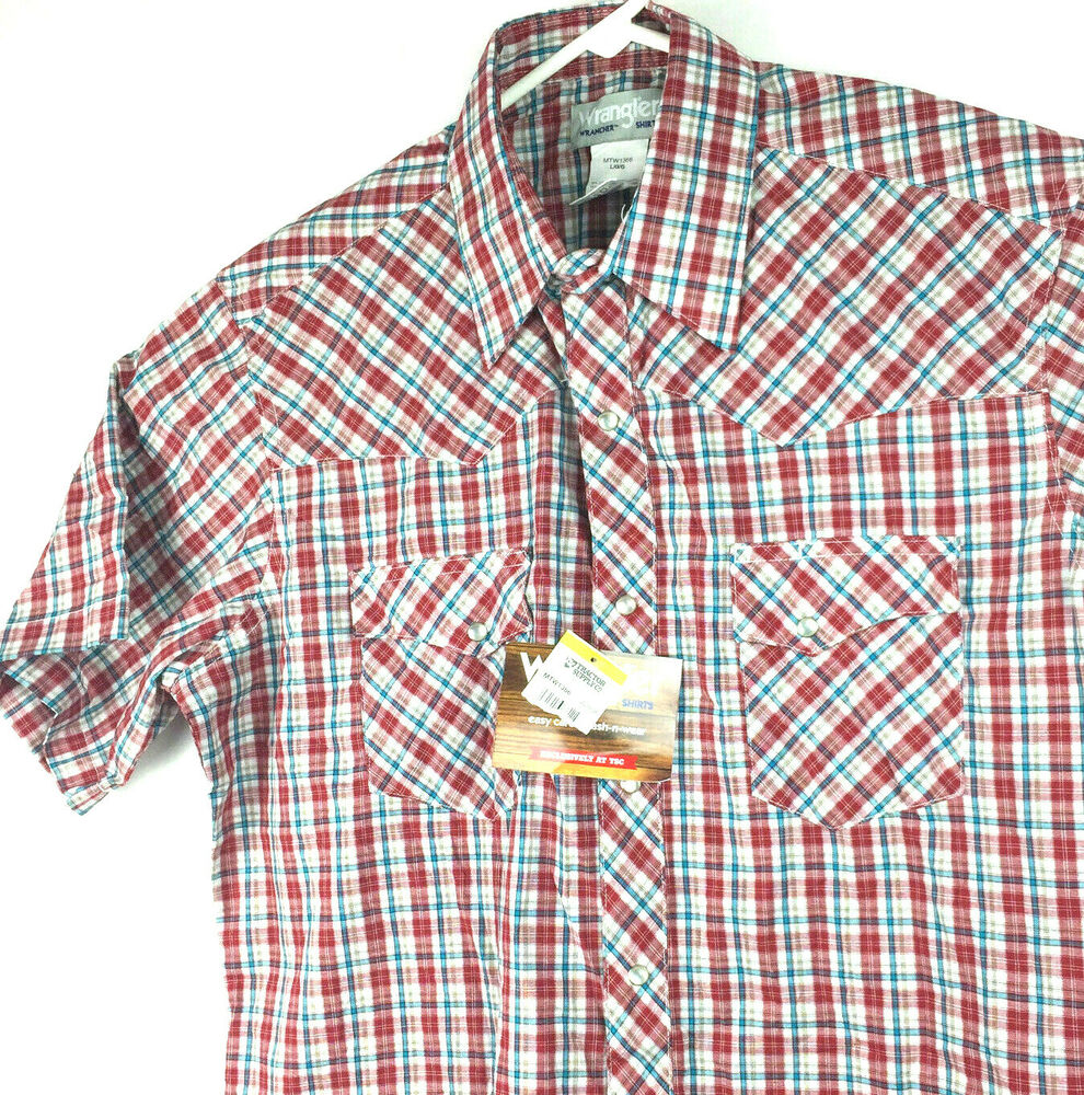 50eff9fc4b4 Details about Wrangler Wrancher Western Wear Mens XXXL Red Plaid S S Pearl  Snap Button Shirt