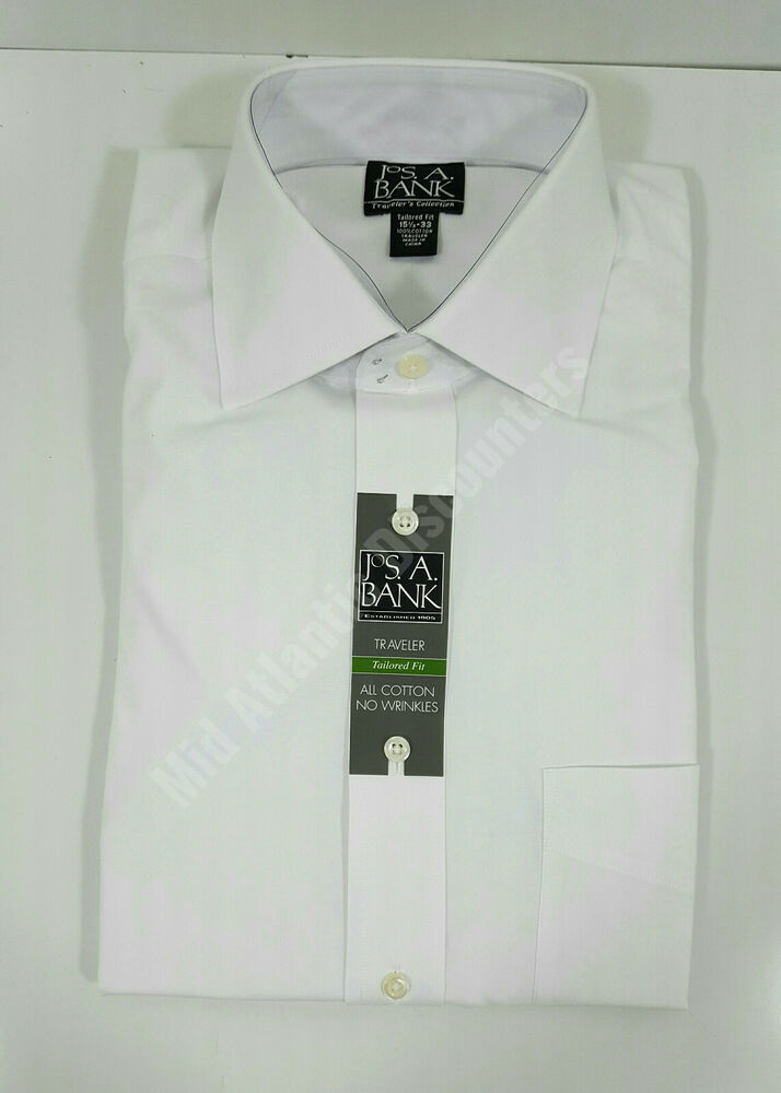 c72e81c6e8cb Details about NWT Jos A Bank Traveler Collection Dress Shirt Long Sleeves  Tailored Fit White