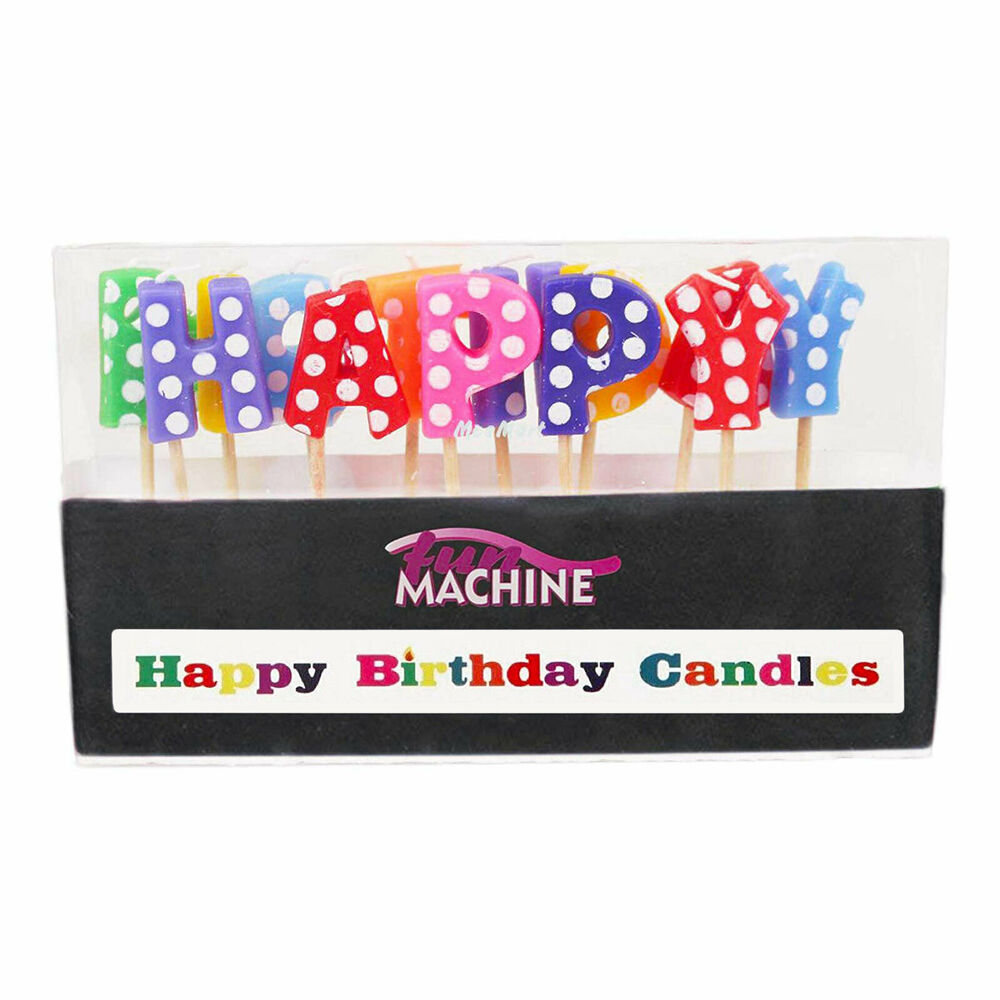 Details About Fun Machine Happy Birthday Candles Letters Colourful Cake Topper Decoration