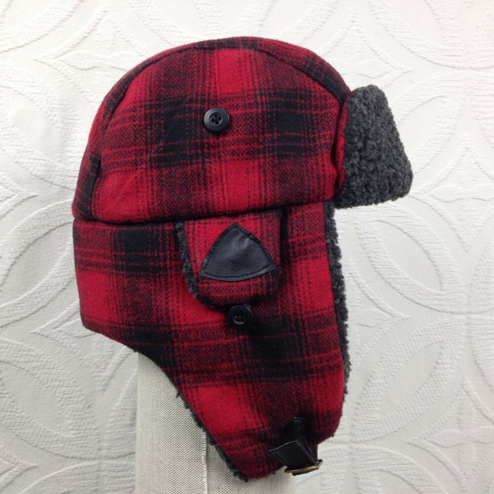 3cde598359a57 Details about Men s STEFENO Red Black Plaid Ear Flaps Winter Aviator Trapper  Hat Cap Sz Small