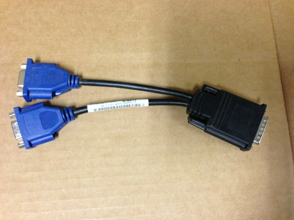 DMS-59 to dual VGA adapter cable video Y splitter HP Used