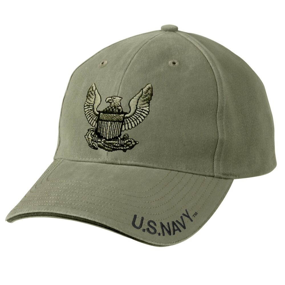 53b51aa344c Details about US Navy Embroidered Ball Cap Low Profile Hat Vet Olive Drab  USN Veteran OD Green