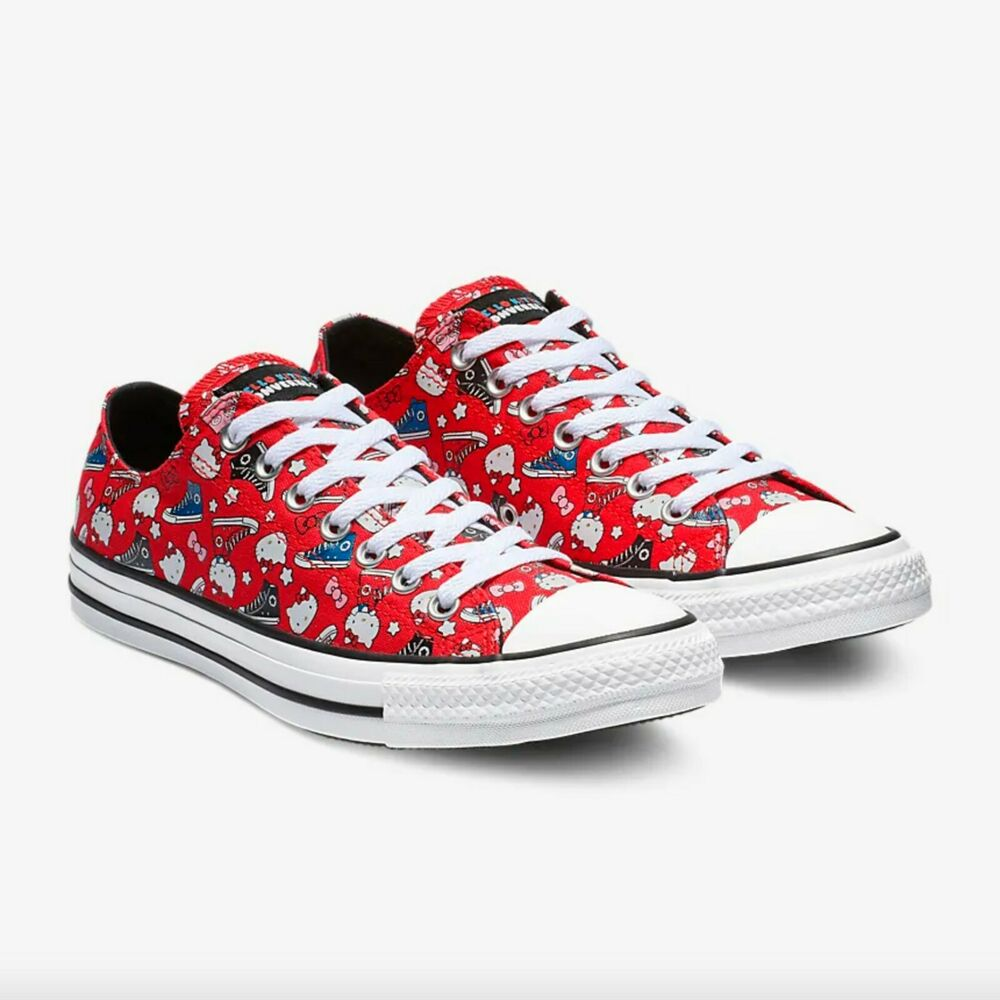 36bdf91ddc07 Details about Converse Chuck Taylor All Star Hello Kitty Red Canvas Low Tops  Men s 12