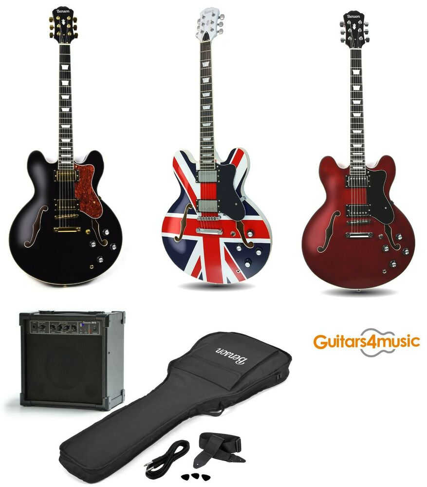 brand new benson electro hollow body semi acoustic electric guitar package ebay. Black Bedroom Furniture Sets. Home Design Ideas