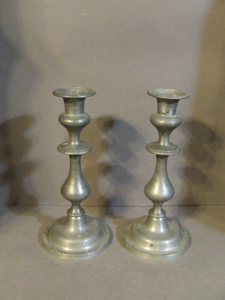 Details about PAIR OF VINTAGE KIRK STIEFF PEWTER CANDLESTICK TAPER CANDLE  HOLDERS 9 3/4