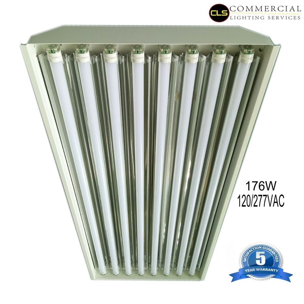 Details about t8 led high bay warehouse shop commercial light 8 lamp fixture usa made bright