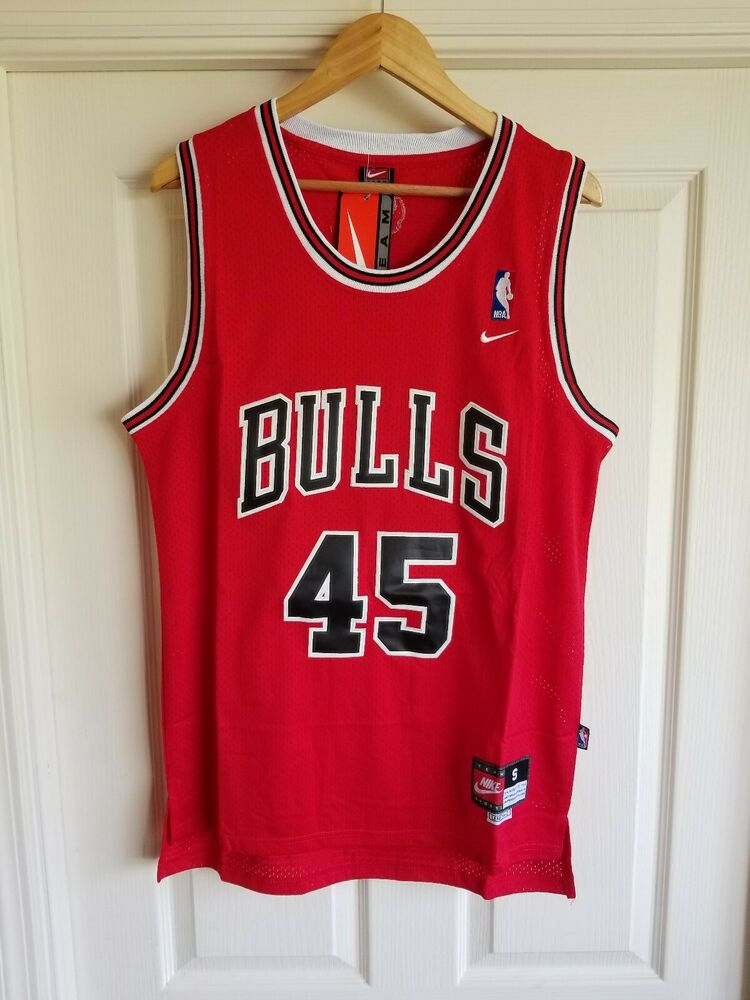 73fd5a6fa Details about NWT MICHAEL JORDAN  45 CHICAGO BULLS RED COMEBACK STITCHED  JERSEY SMALL S