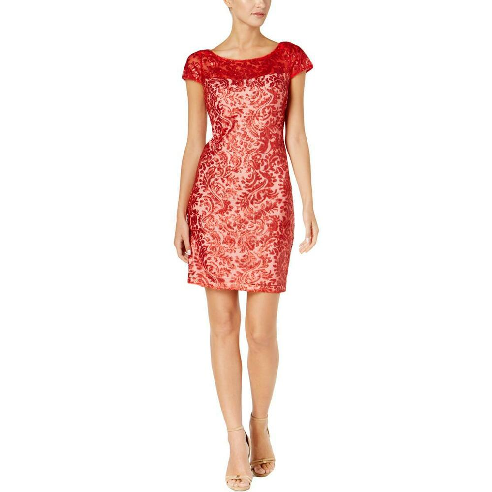 2b5cc976224 Details about Calvin Klein NWT Elegant Cocktail Dress FIRE RED Sequined  Lace Cap sleeve size 2