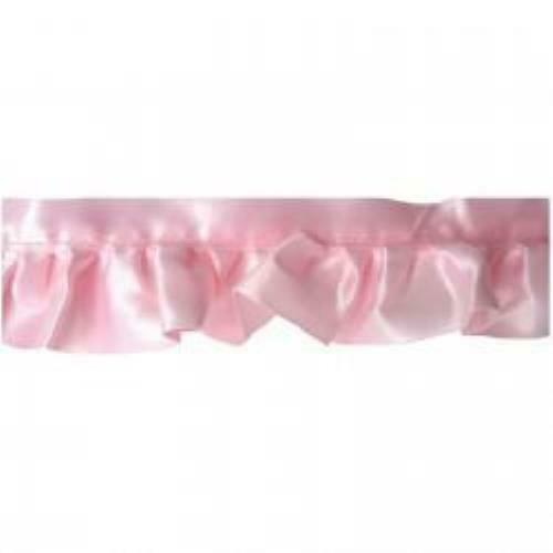 "1 7/8"" Pink Ruffled Satin Blanket Binding Trim By The Yard"