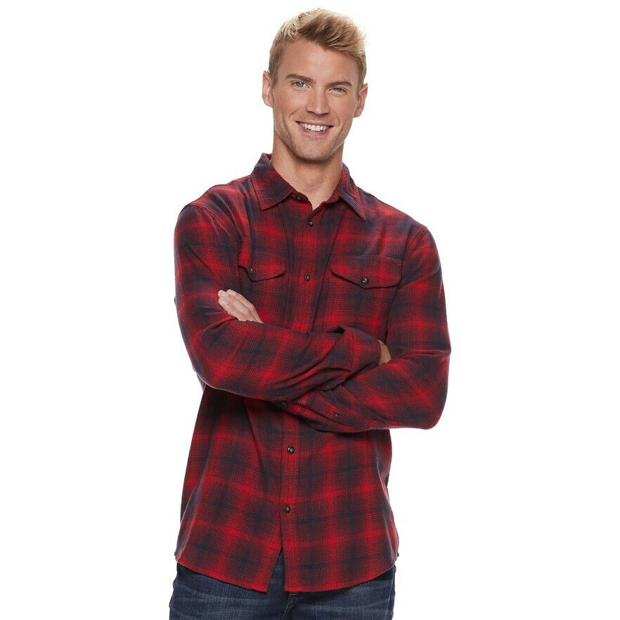 36560a3c5eb36c Details about SONOMA Goods for Life™ Modern-Fit Plaid Flannel Button-Down  Shirt Sz L NWT $40