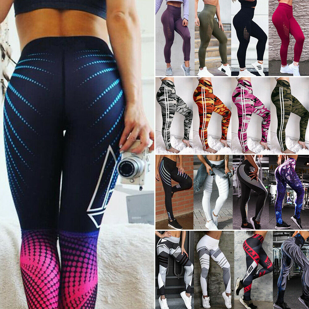 6b68c02e46aa6 Details about Women Ruched Leggings Butt Lift Yoga Pants Anti Cellulite  High Waist Compression