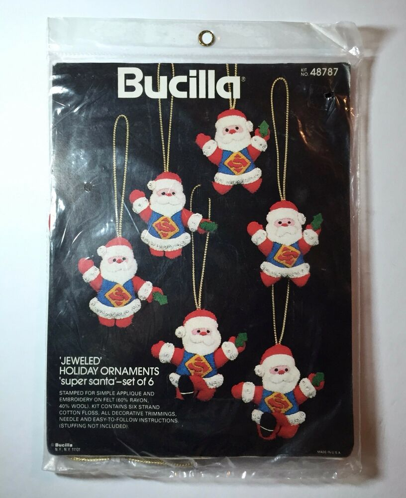 Bucilla Felt Jeweled Ornament Kit Super Santa Superman ...