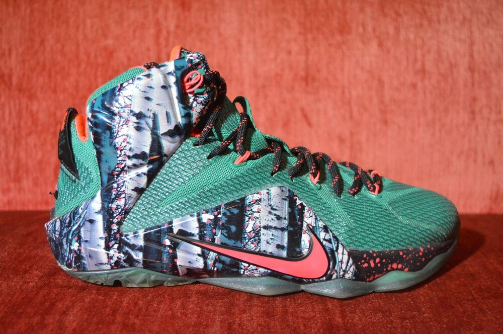 new arrival f0b7e b6d68 Details about Nike Lebron XII 12 Xmas Christmas Akron Birch Men s Size 9  684593 068 GREEN