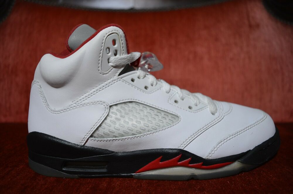 official photos 2fa6d 0b45e Details about Nike AIR Jordan 5 V Retro GS White Fire Red 440888-100 Size 6  Y Silver Tongue