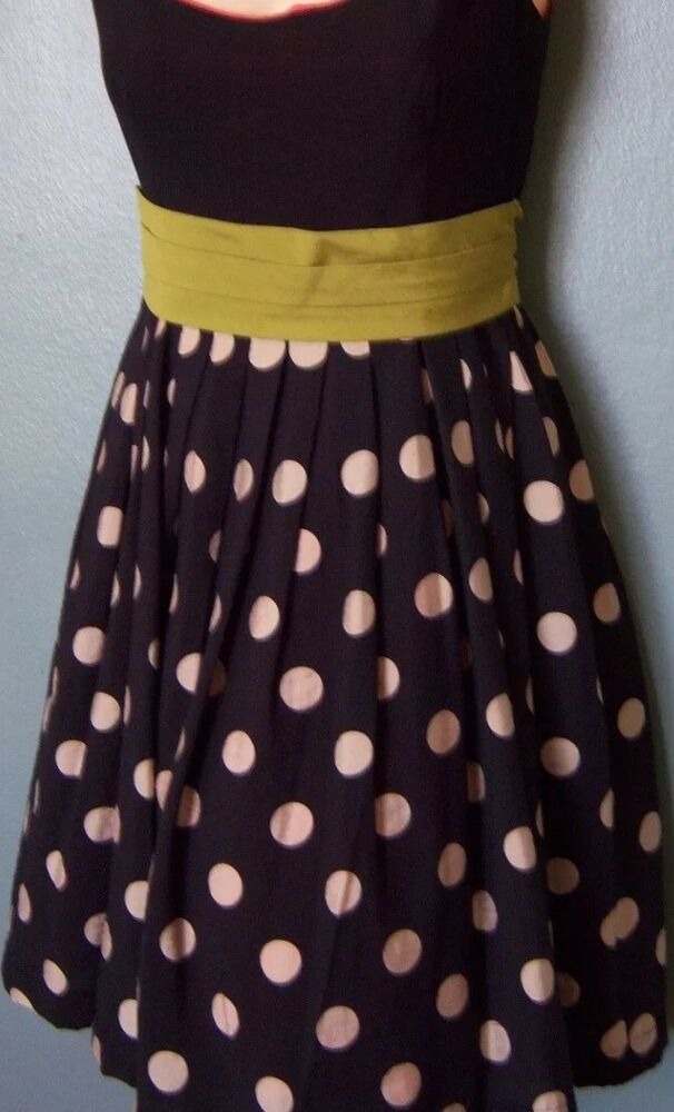 4412eed63772e Details about ANTHROPOLOGIE COREY LYNN CALTER SLICE OF LIME DOT DRESS 4  Small