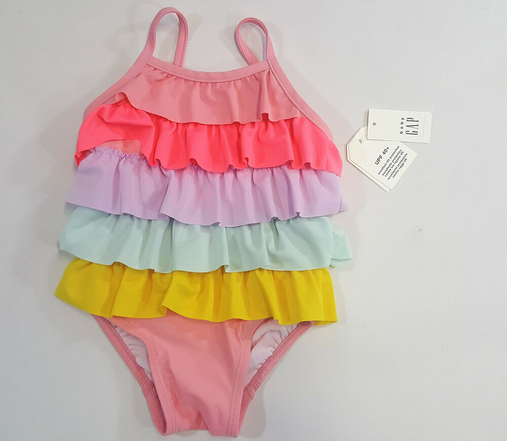 742a85507f67e Details about NWT Baby Gap Girls Size 0 6 12 18 24 Months Rainbow Ruffle Swimsuit  Bathing Suit