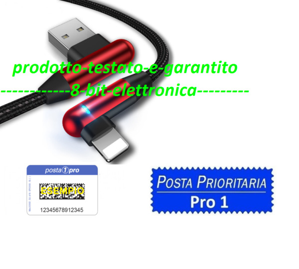 CAVO DATI USB LIGHTNING PER APPLE IPHONE  90 GRADI RICARICA VELOCE 1.2M