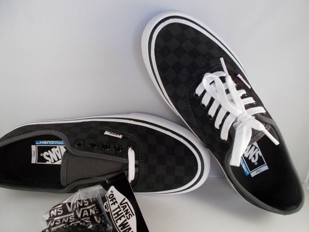 f58bbe95f3f4 Details about VANS Authentic Pro Checkerboard Black Suede UltraCush Shoes  Men s Size 8.5 NIB