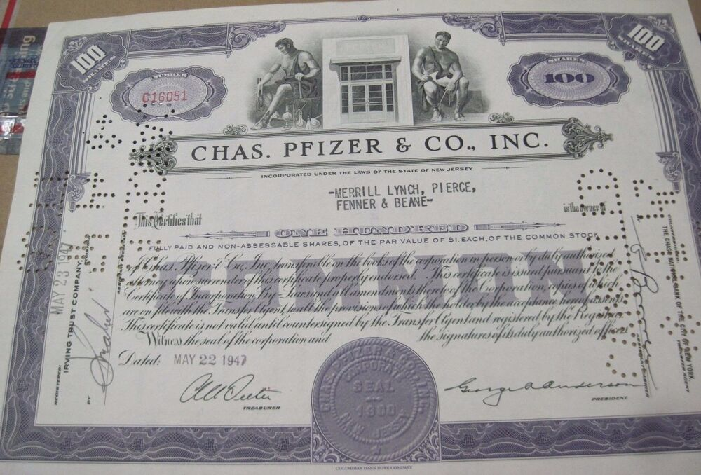 1956 Chas. Pfizer & Co. gray OLD CANCELED STOCK ...