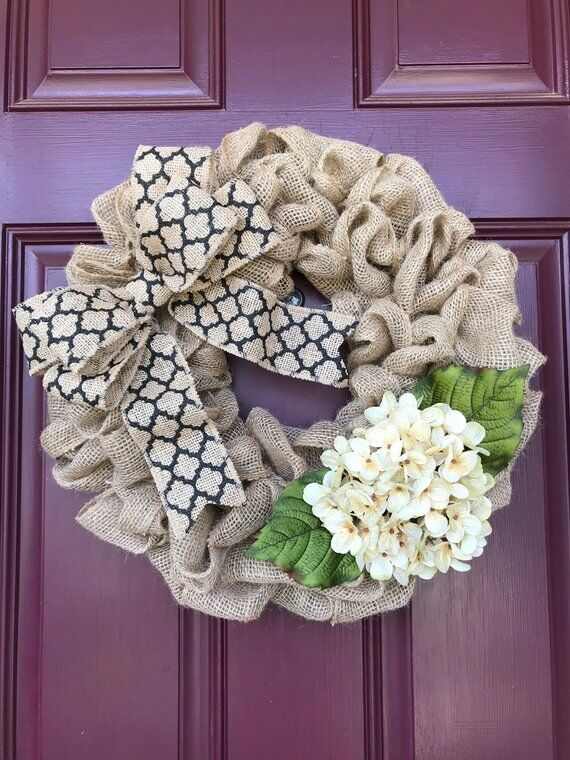 Front Door Wreath In Burlap With Hydrangea Ebay