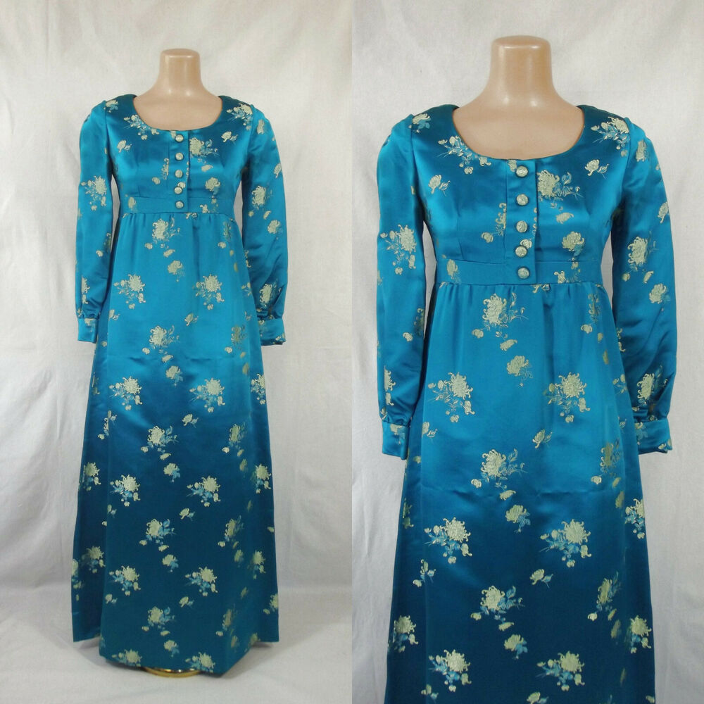 ca1adda57abf Details about Vintage 60's Asian Inspired Satin Brocade Maxi Dress As-is  Costume Study Repair