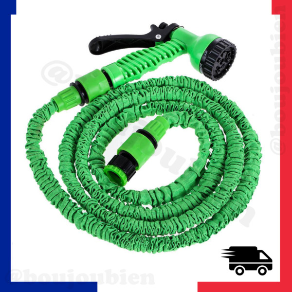 Tuyau d'arrosage extensible flexible rétractable 15m 30m 45m + pistolet 7 jets