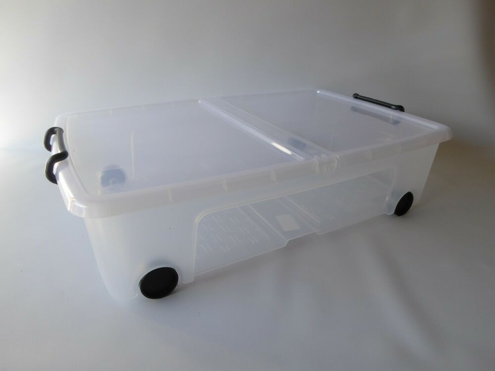 Details About Heavy Duty 35ltr Under Bed Plastic Storage Bo With Wheels And Locking Handles