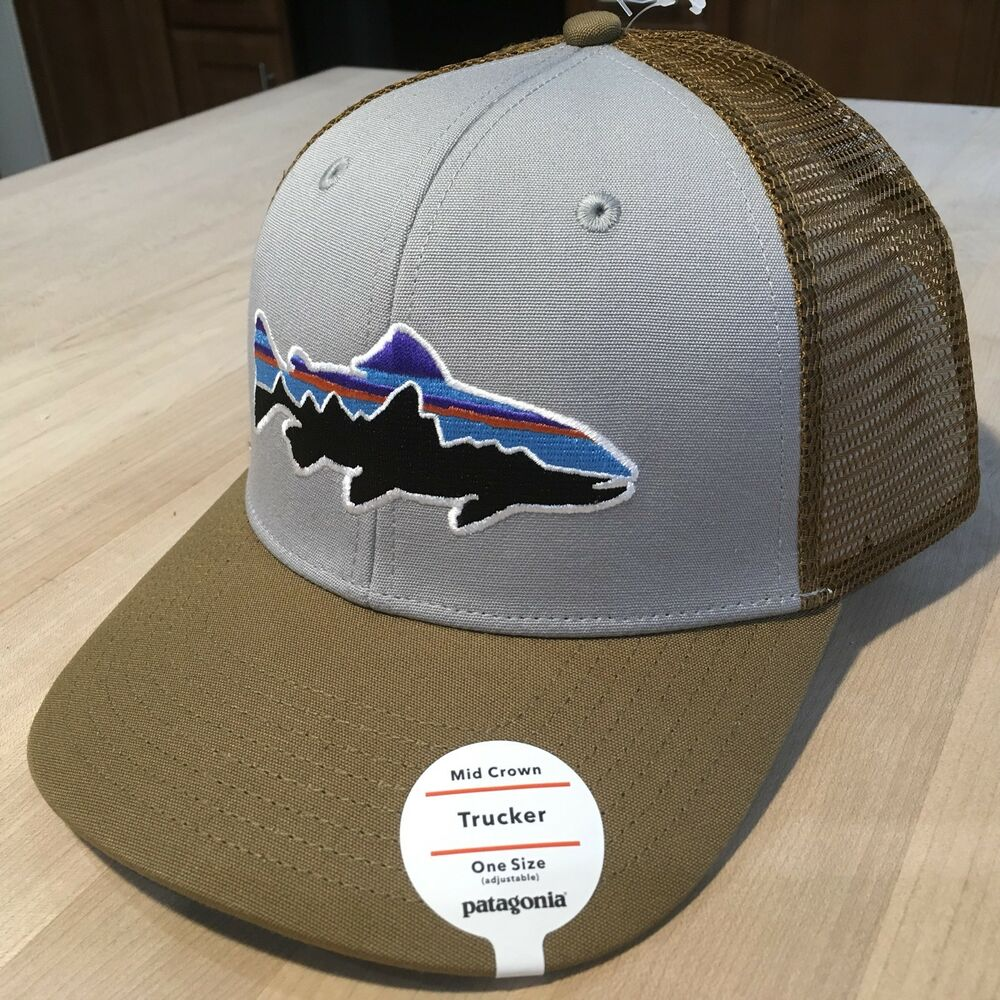 74b68ab521f6b Details about Patagonia Fitz Roy Trout Trucker Hat - NWT - Drifter Grey w   Coriander Sold Out