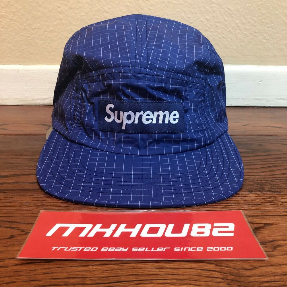 4ac4a812eed Details about New Supreme Contrast Ripstop Camp Cap Hat 5-Panel 6 Grid Blue  Classic SS18