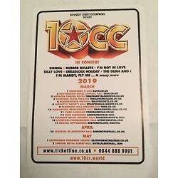 10cc UK Tour 2019 Promotional Flyer (A5 Colour) ''I'm Not in Love'' ''Donna'' & More