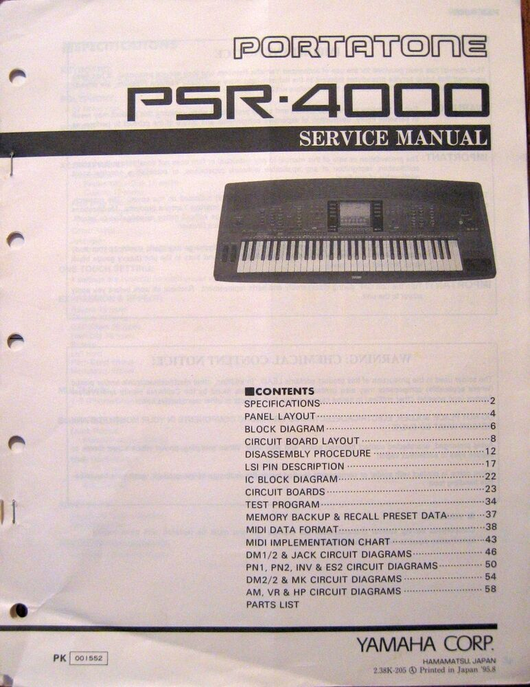 Strange Yamaha Psr 4000 Portatone Midi Keyboard Workstation Original Service Wiring Digital Resources Jebrpcompassionincorg