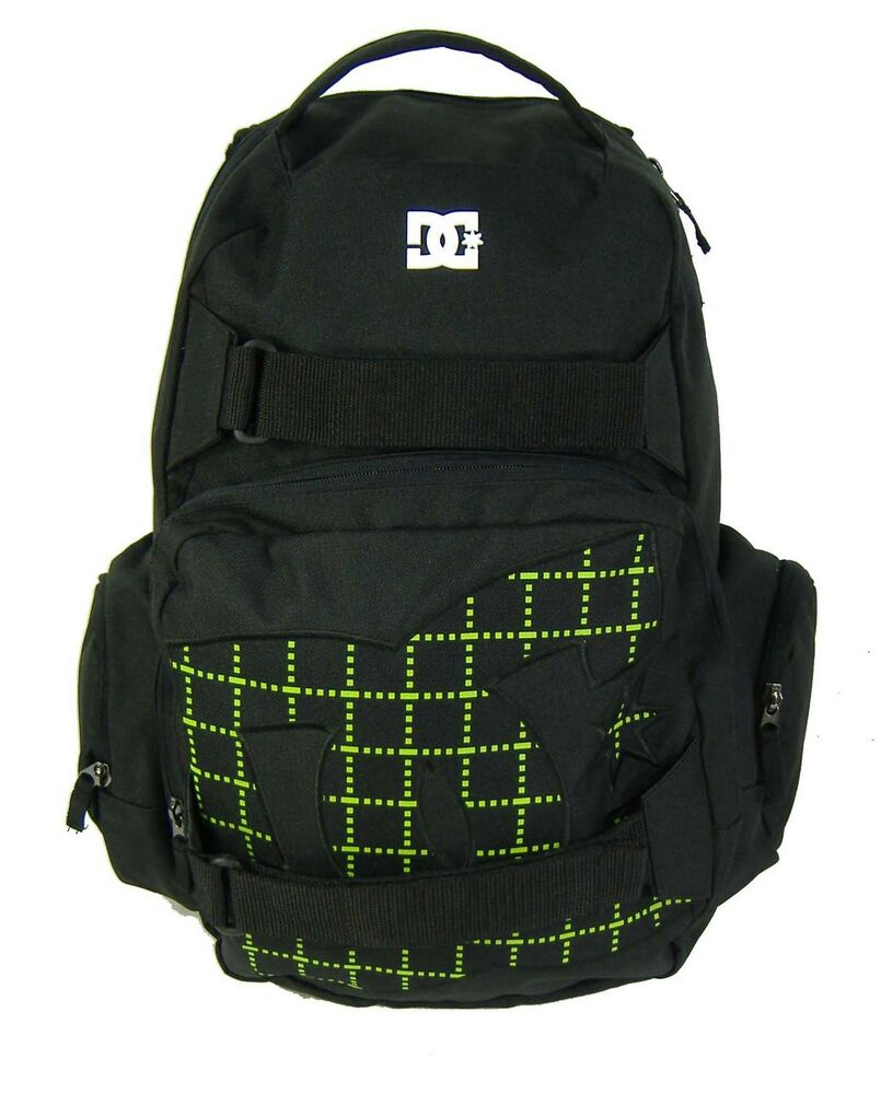 ac18b59d9c Details about New DC Shoes Large Laptop Backpack School Book Bag Black Green
