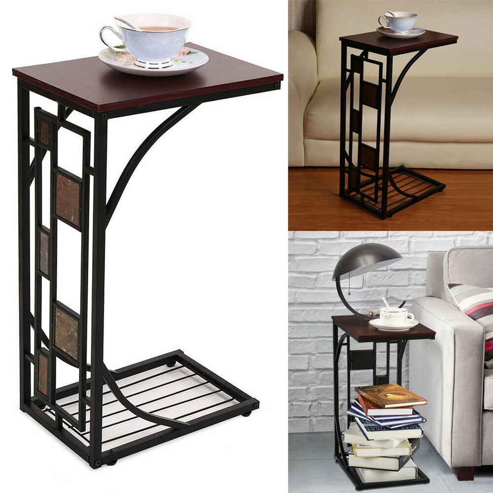 C shaped Side Sofa Snack Table Coffee Tray End Table